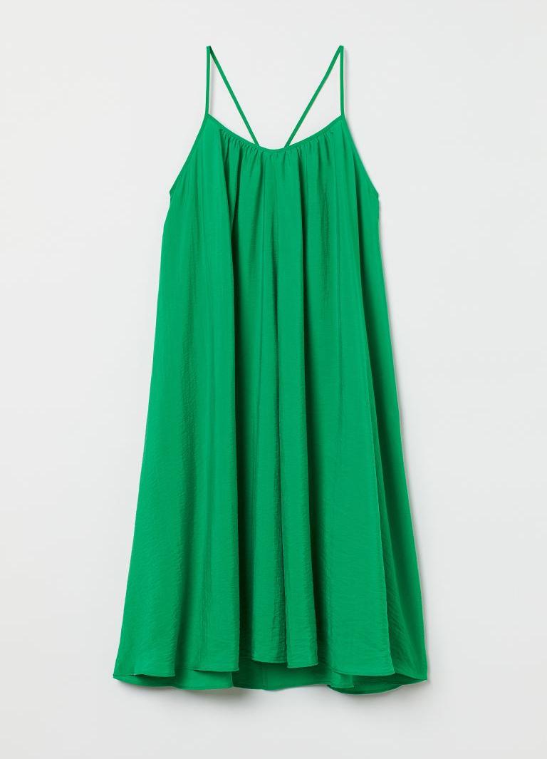 midi green dress h&M