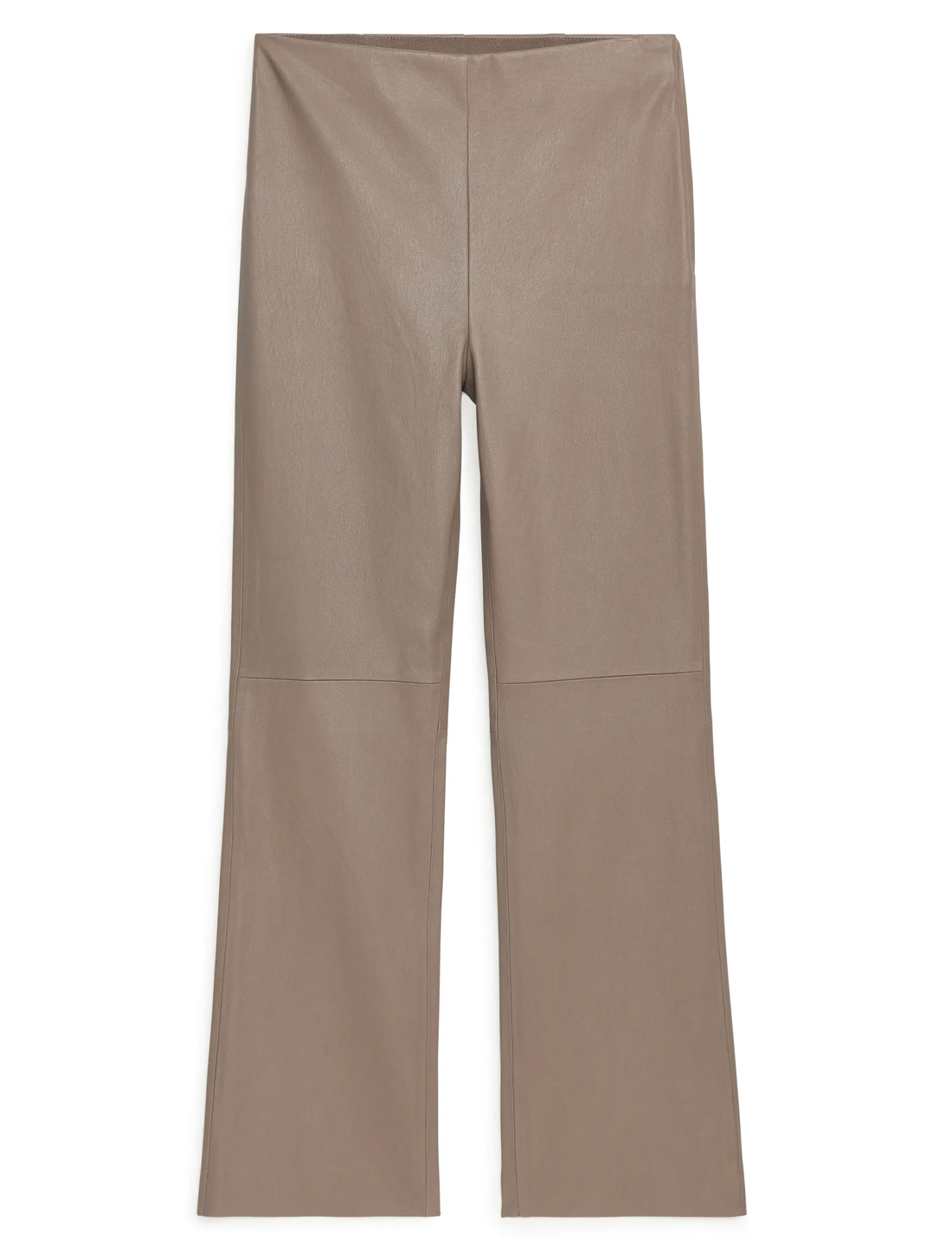 beige straight leather trousers