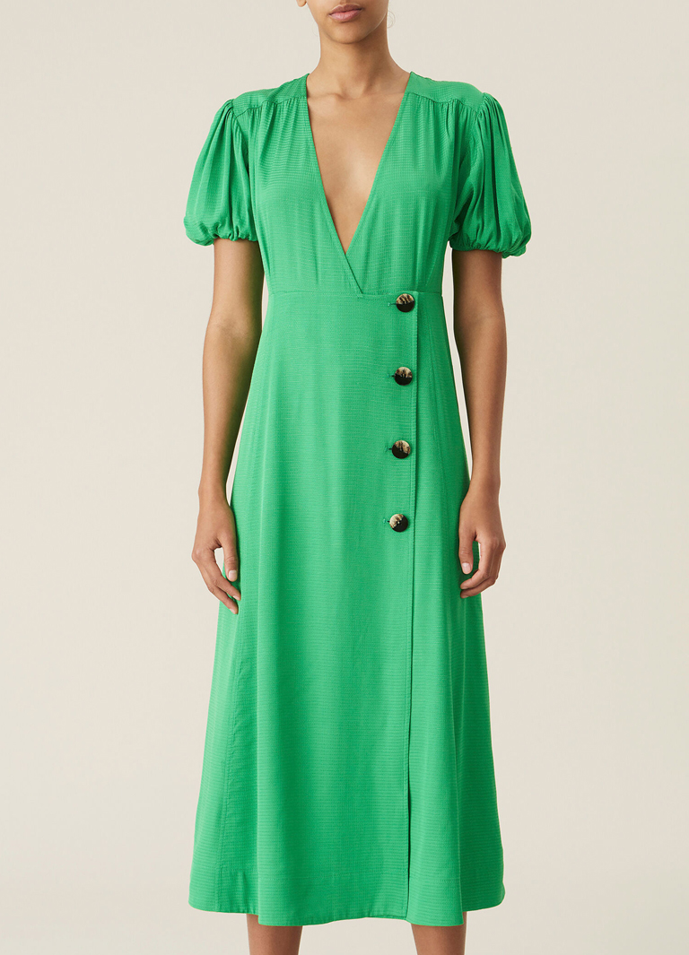midi green short sleeve dress
