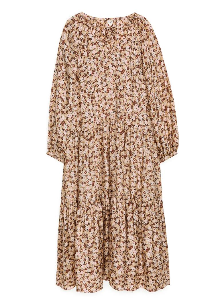 maxi beige floral dress