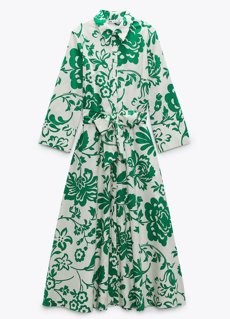 green midi dress with print