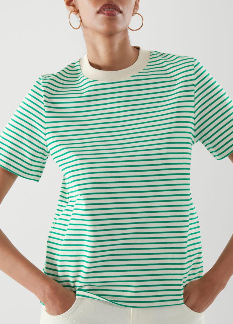 green stripy t-shirt