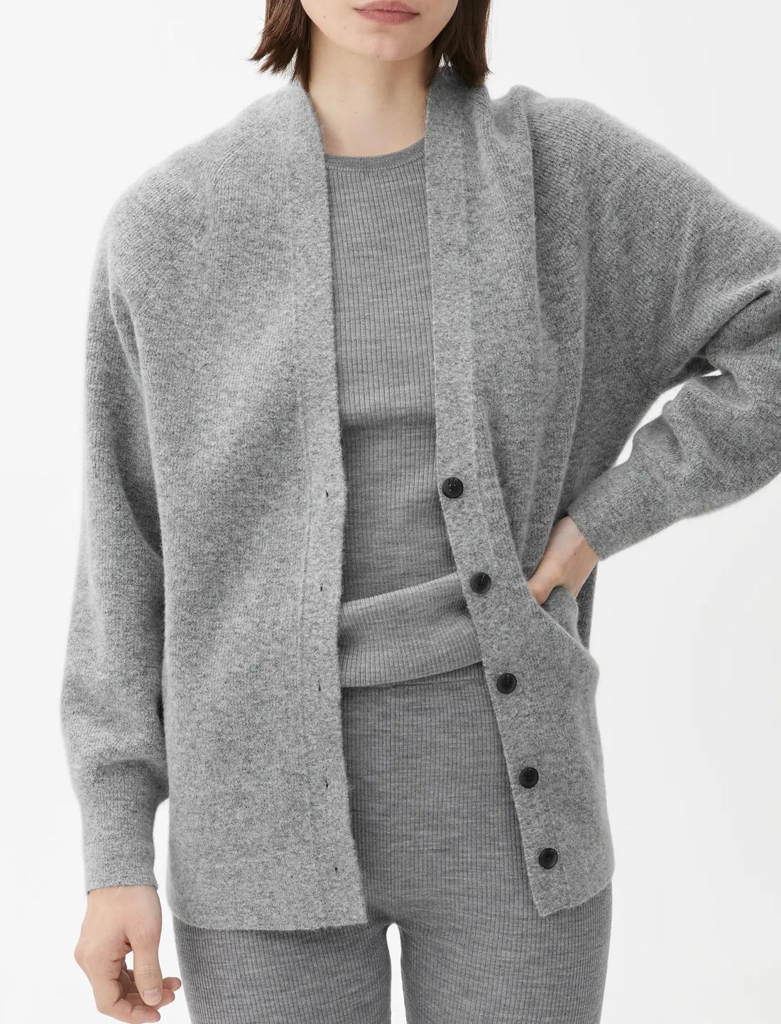 grey alpaca blend cardigan