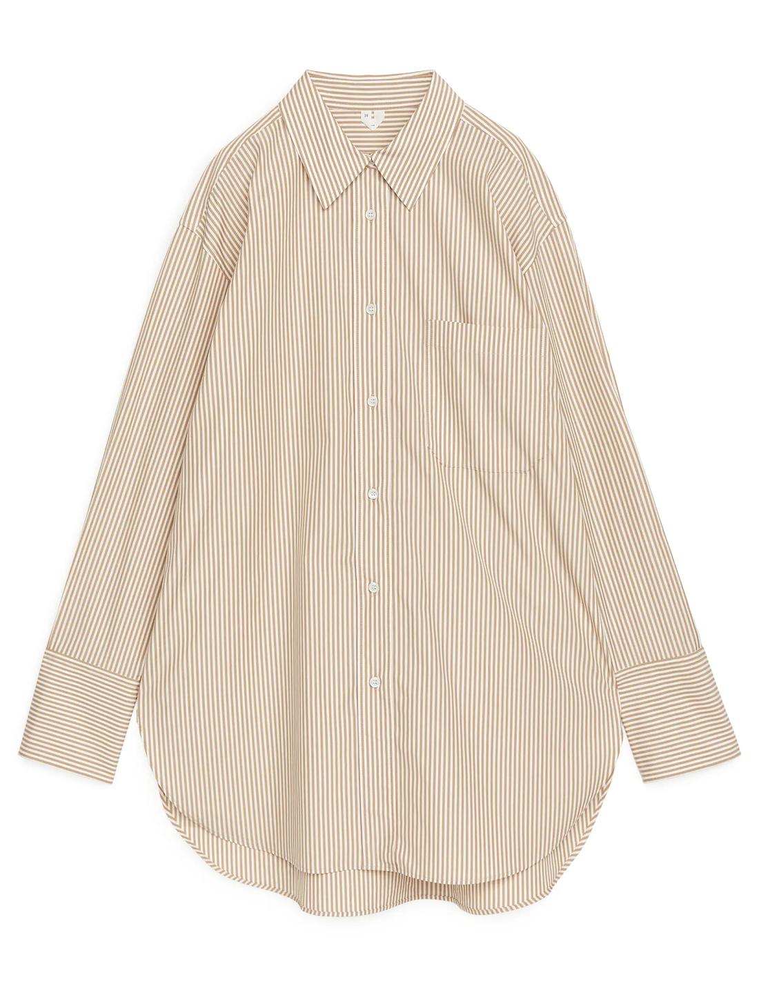 oversized beige poplin shirt