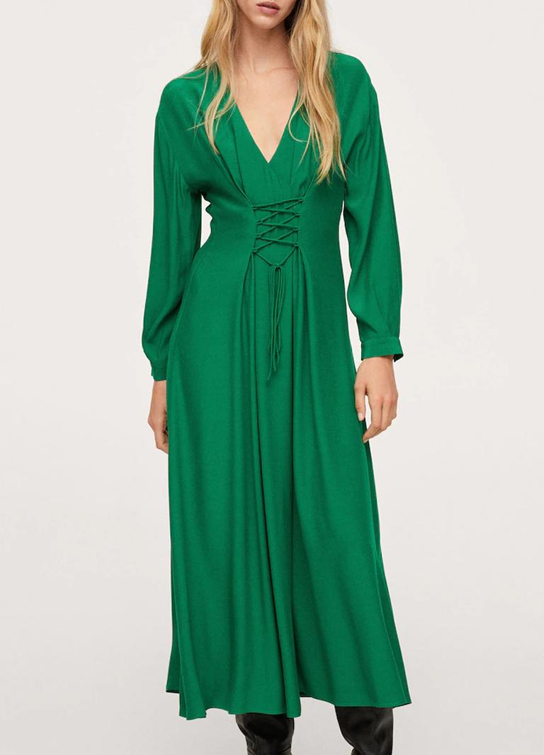 green midi log sleeve dress