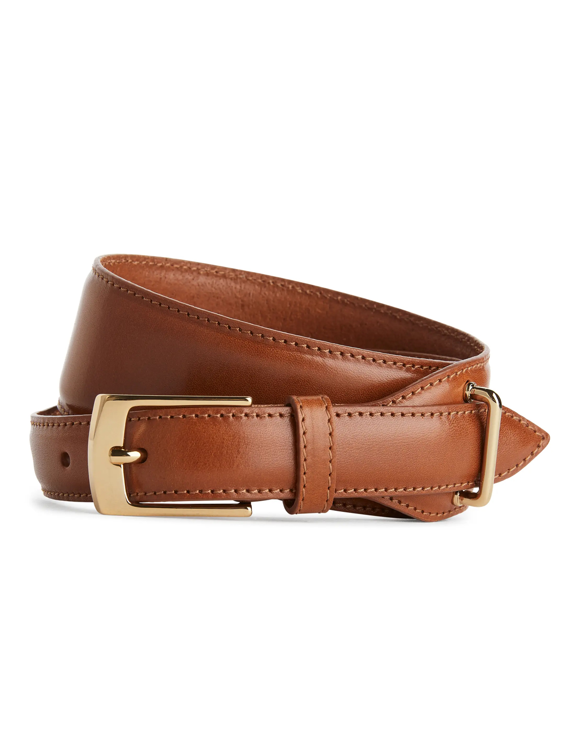 brown and gold leather belt
