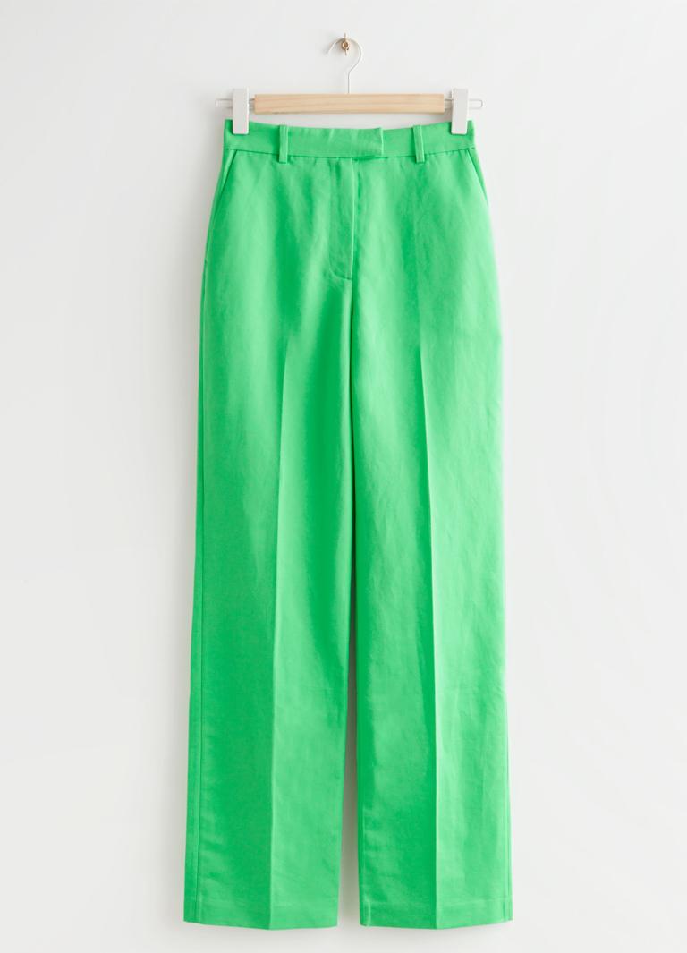 green wide leg trousers