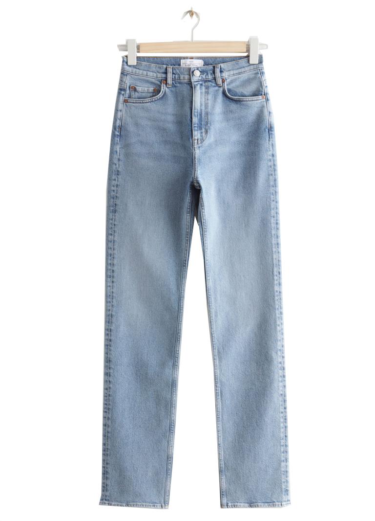 blue straight leg jeans woman