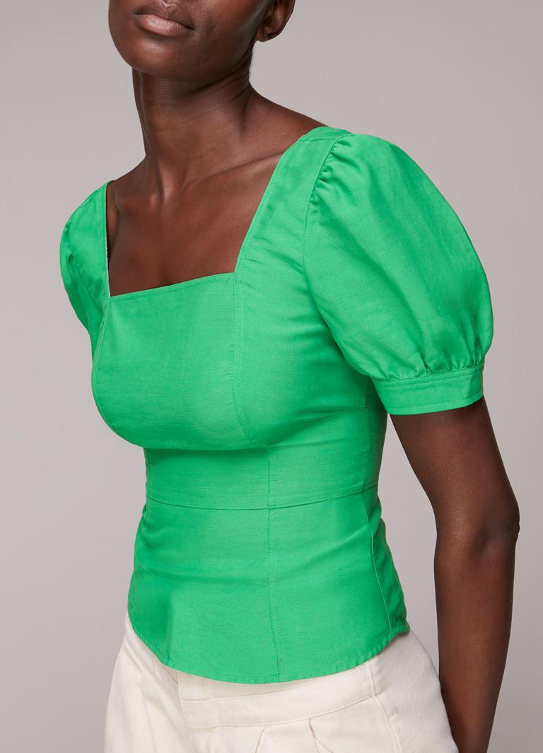 green puff sleeve top