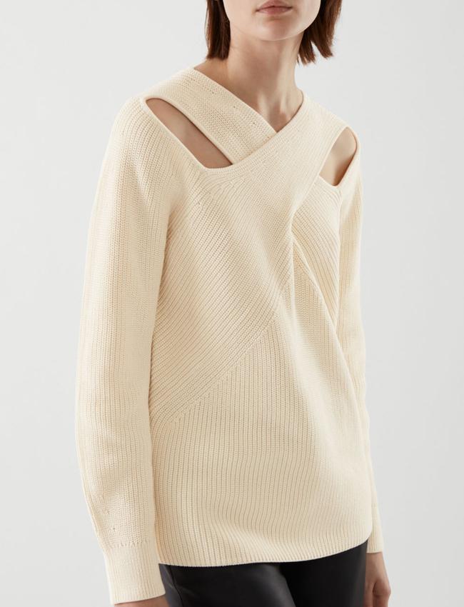 beige cut out jumper