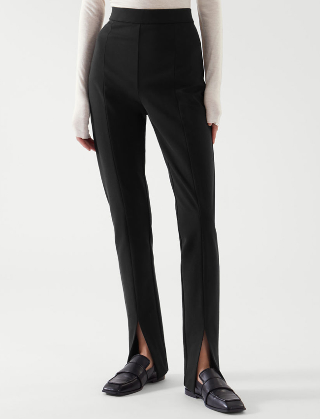 black slim trousers with slit