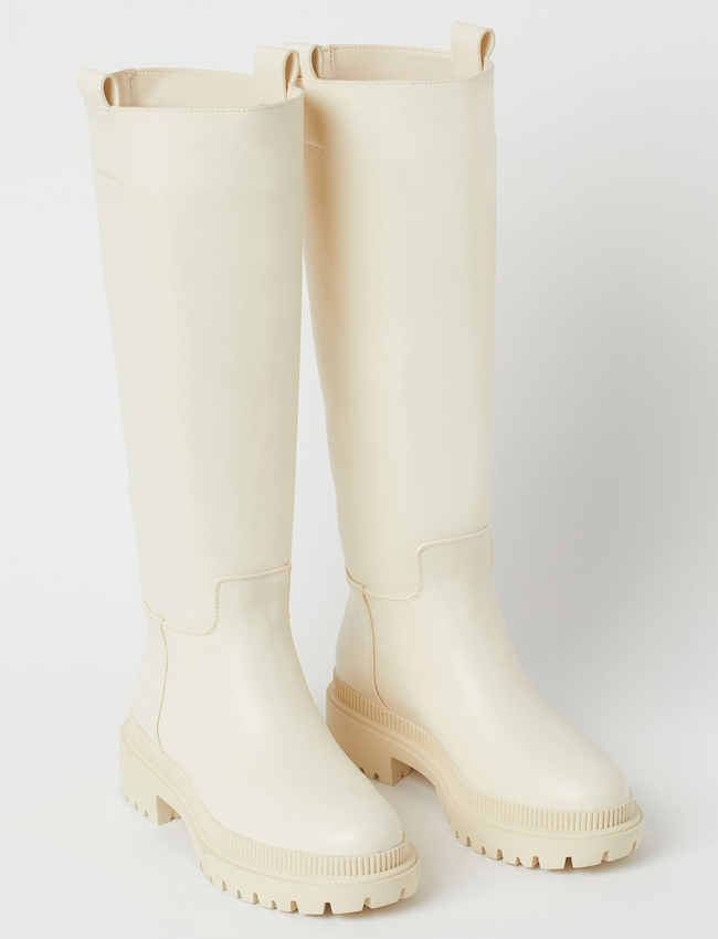 cream chunky long boots