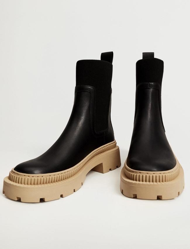 mango track sole black boots