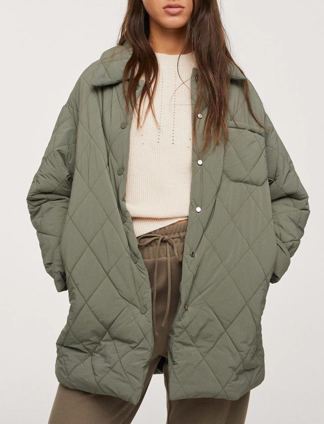 mango khaki quilted button jacket