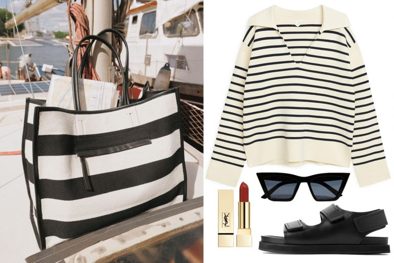 outfit ideas with striped jumper