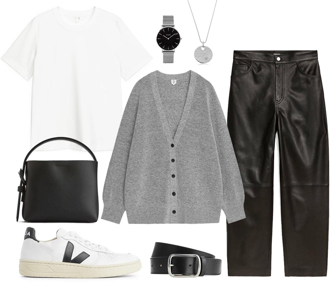 grey cardigan outfit idea