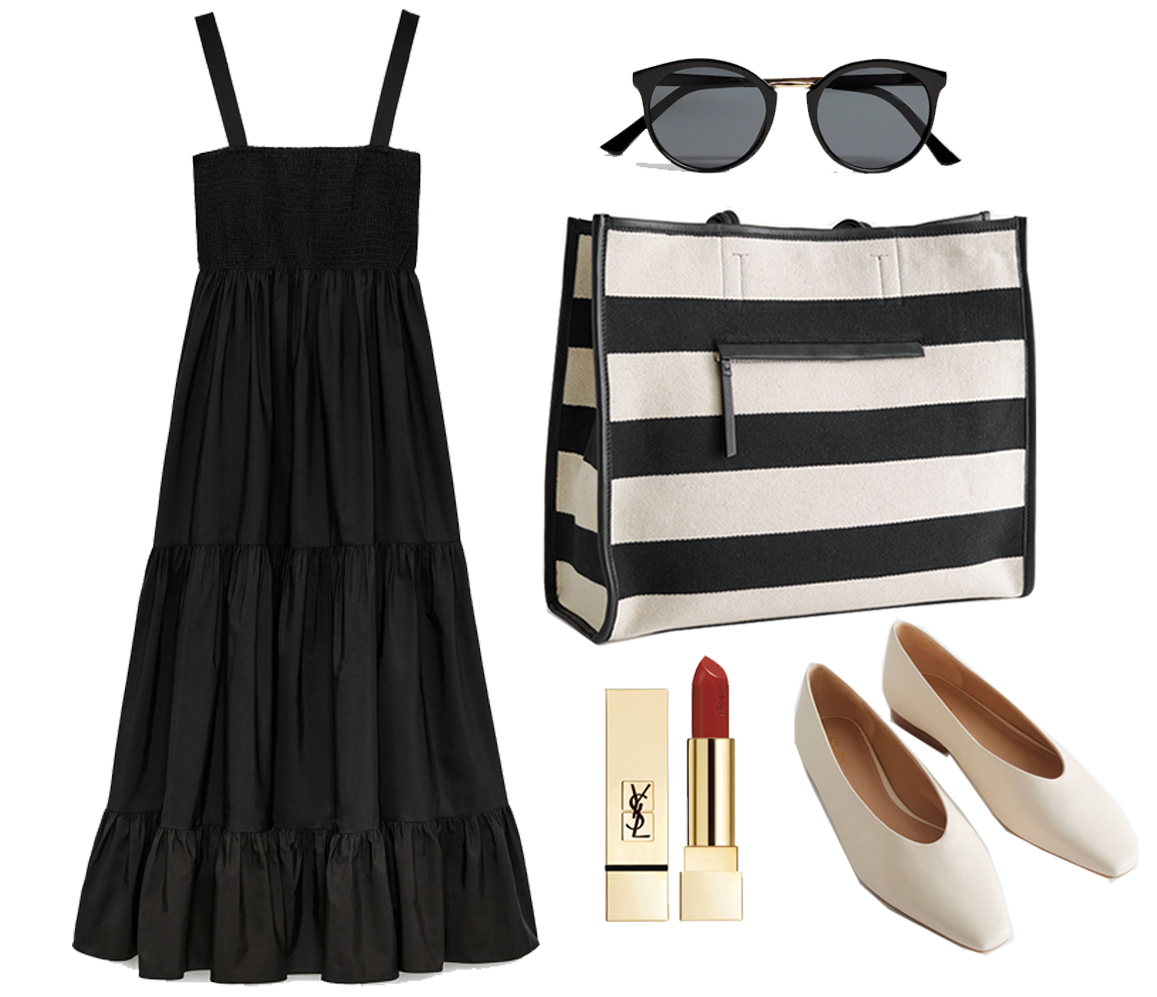outfit idea with striped bag