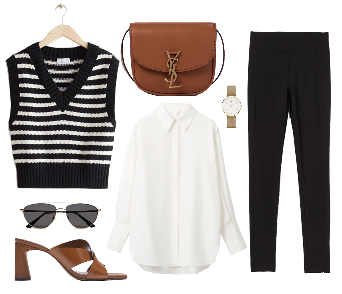 outfit idea with striped vest