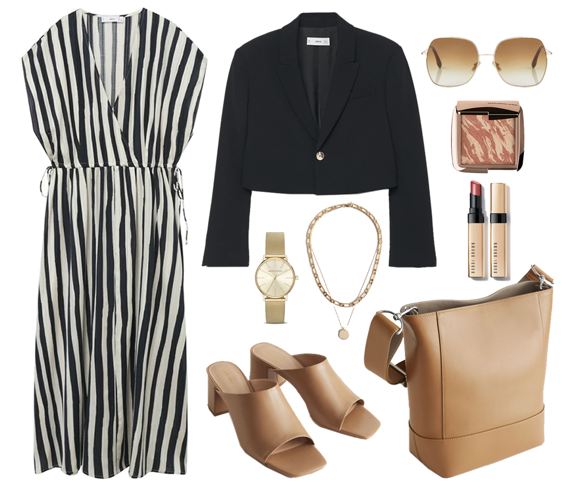 striped dress outfit idea