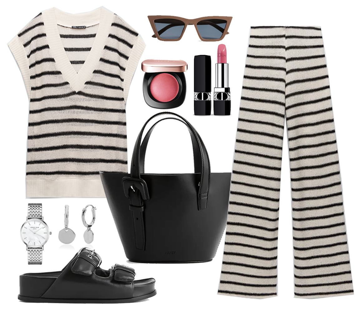 striped knit co ord