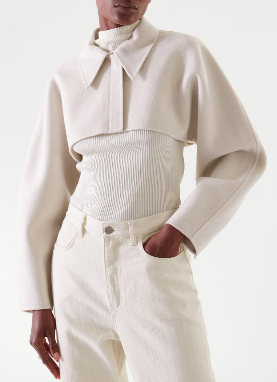 cropped bolero jacket off white cos