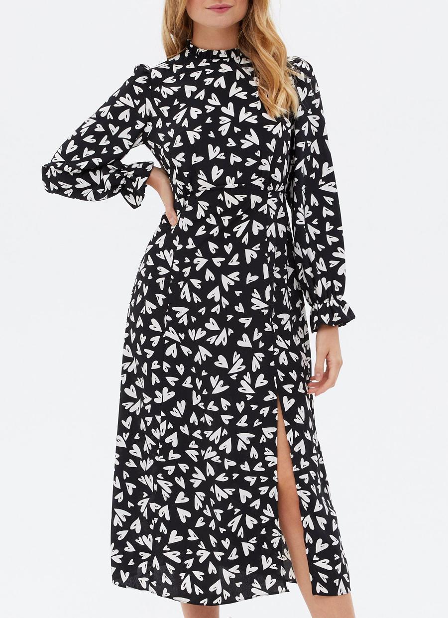 black heart midi dress