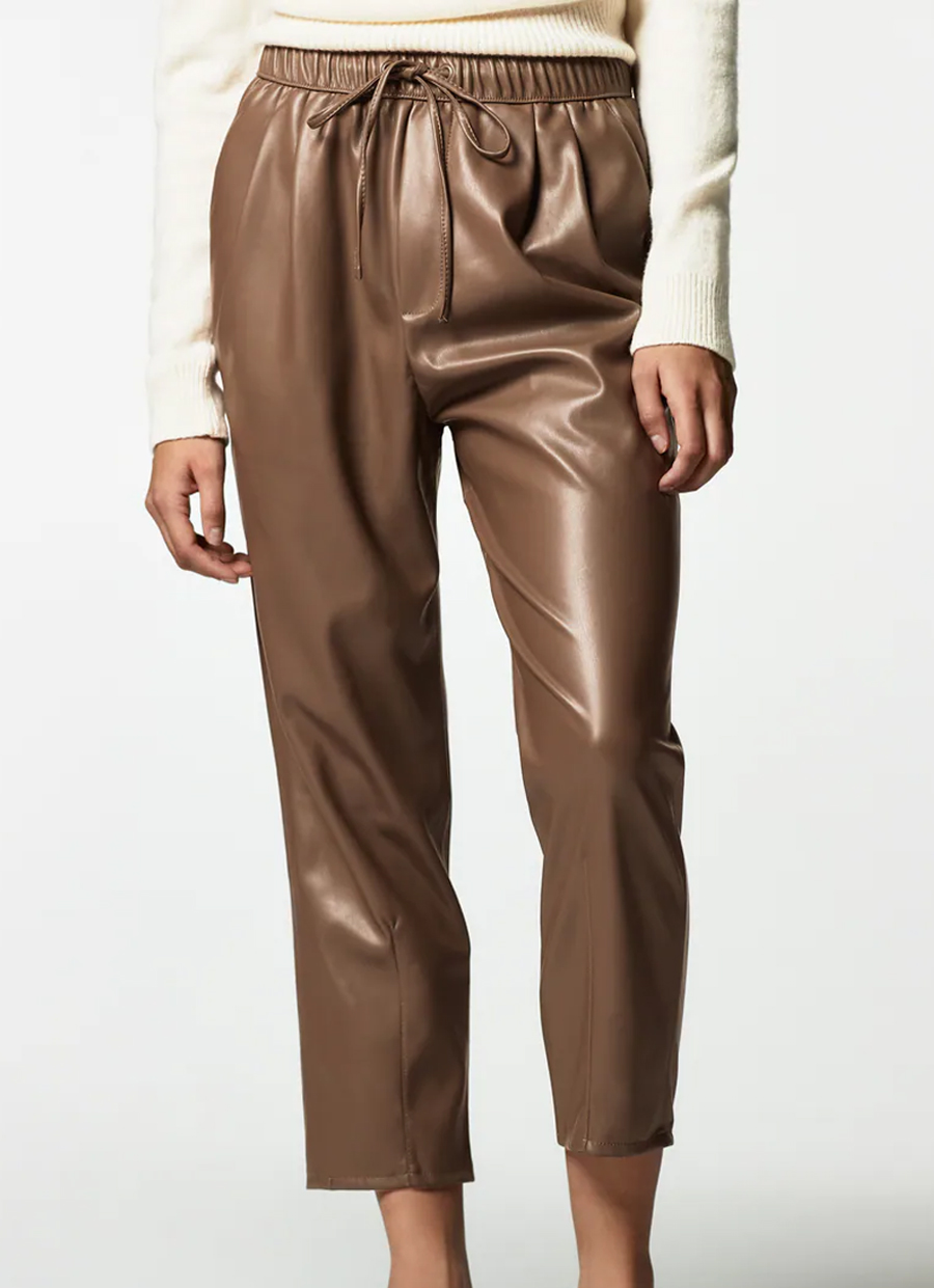 zara brown faux leather trousers