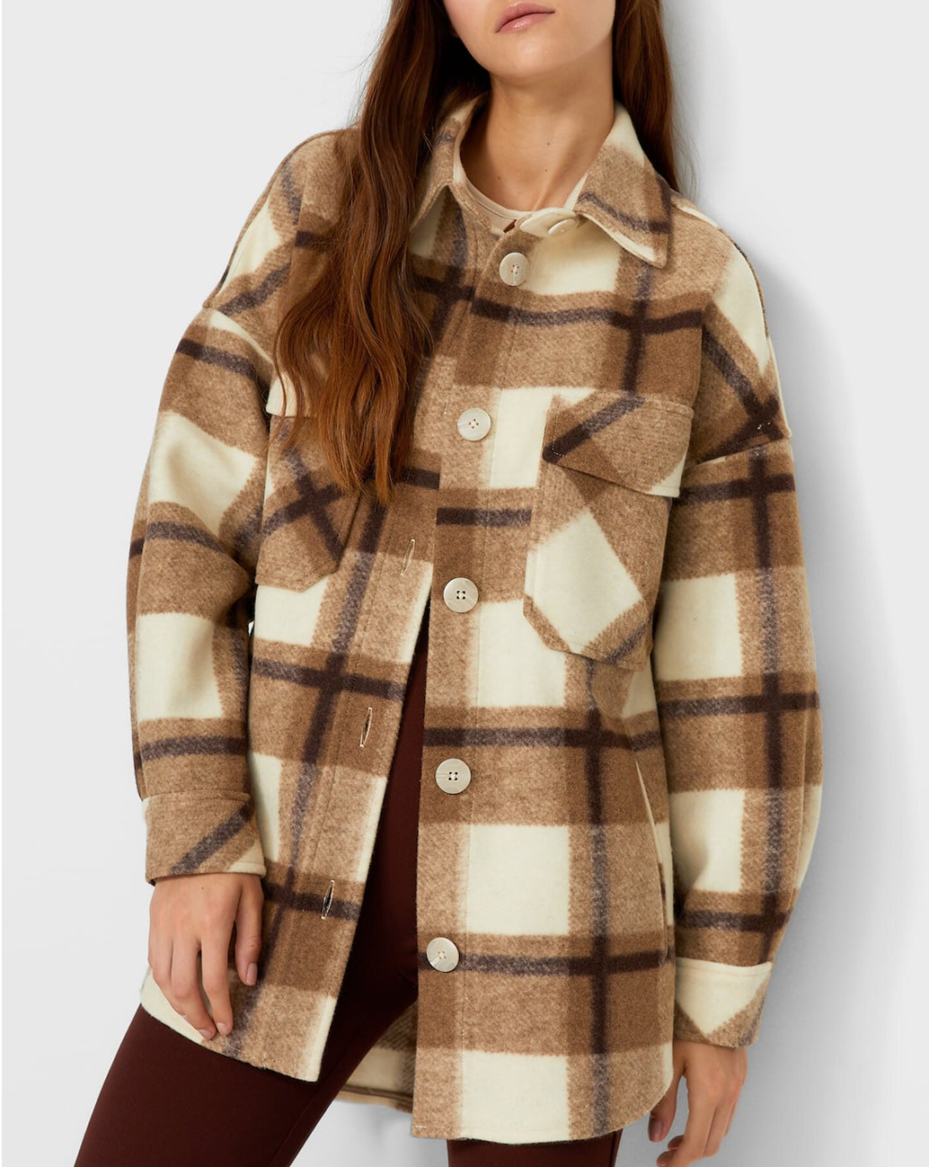 beige and brown checked overshirt