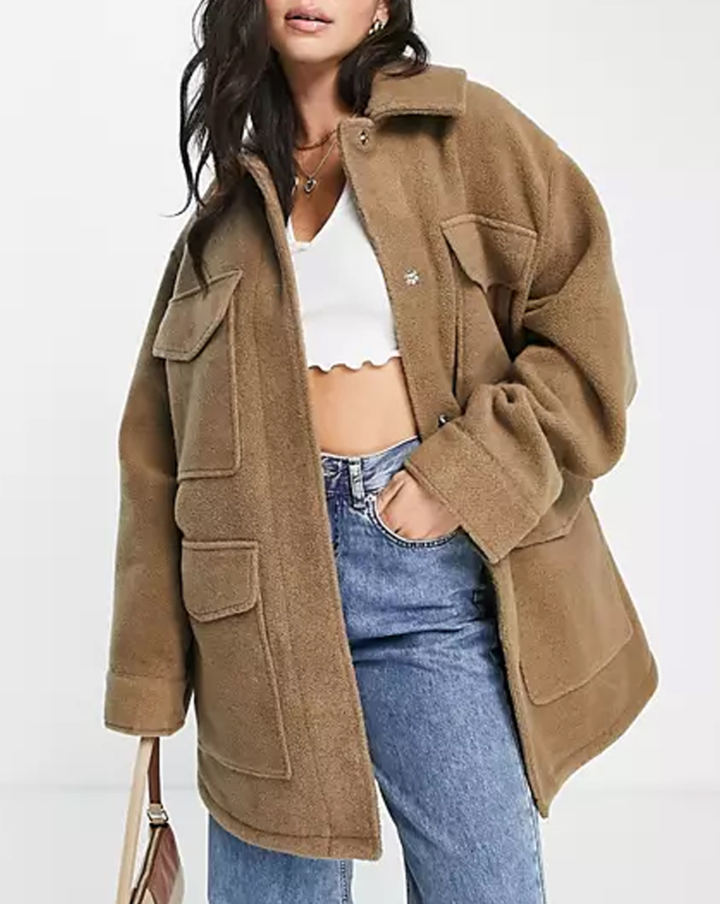 asos brown oversized shacket
