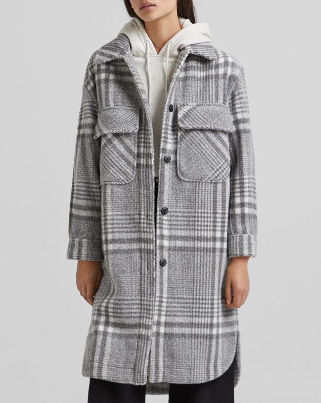 grey wool checked overshirt