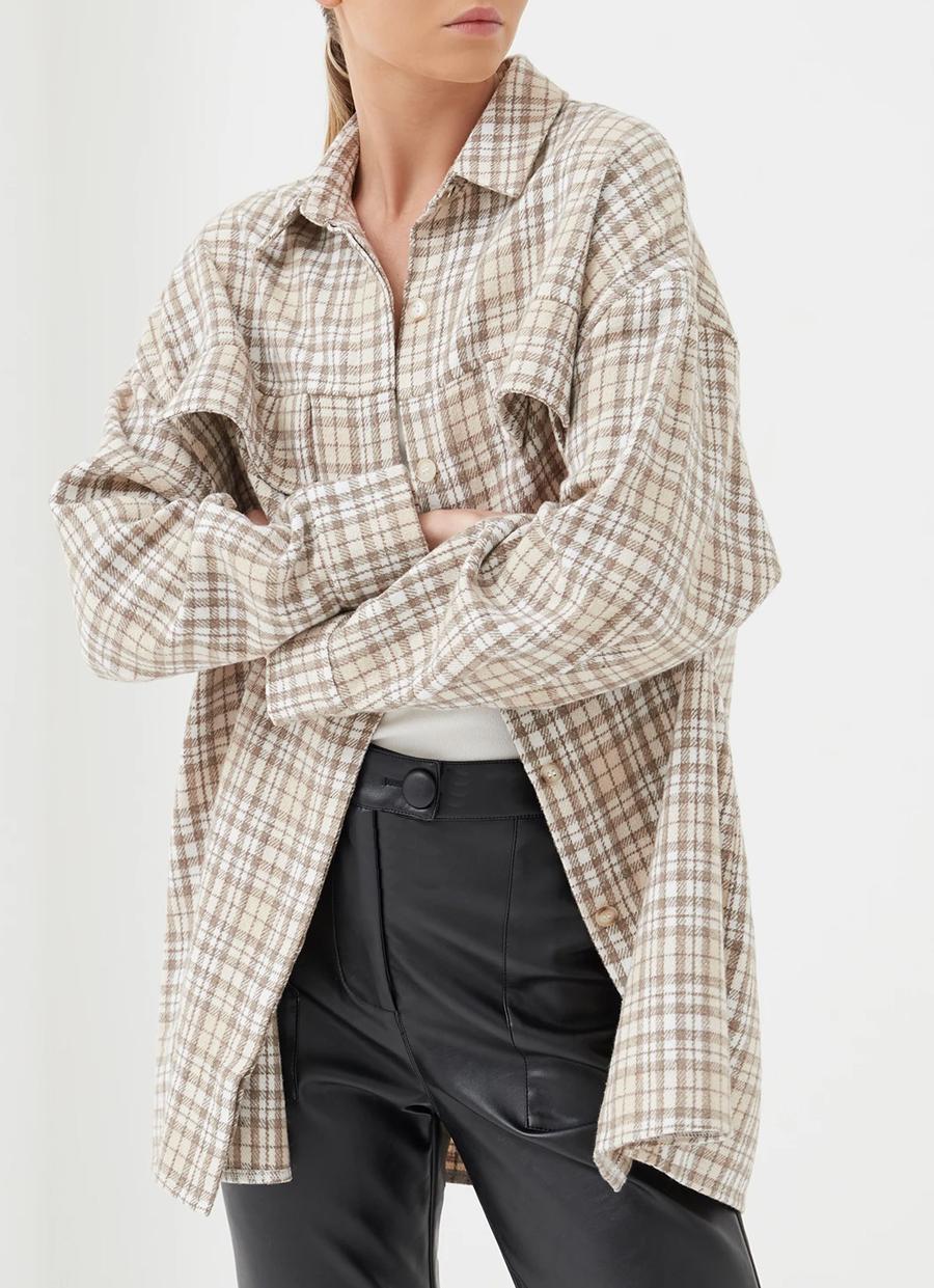 beige check shirt women 2021