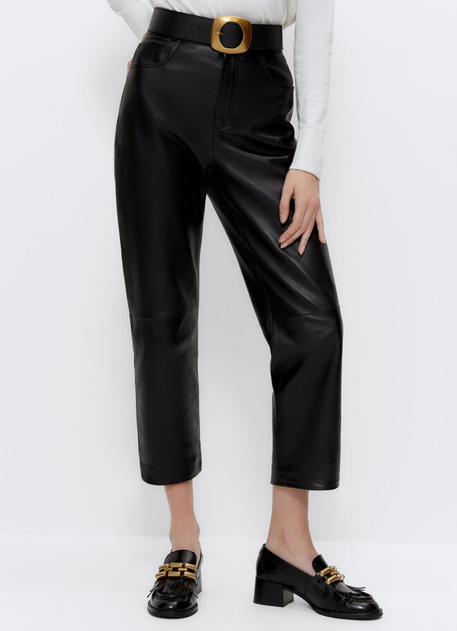 straight cut leather trousers black