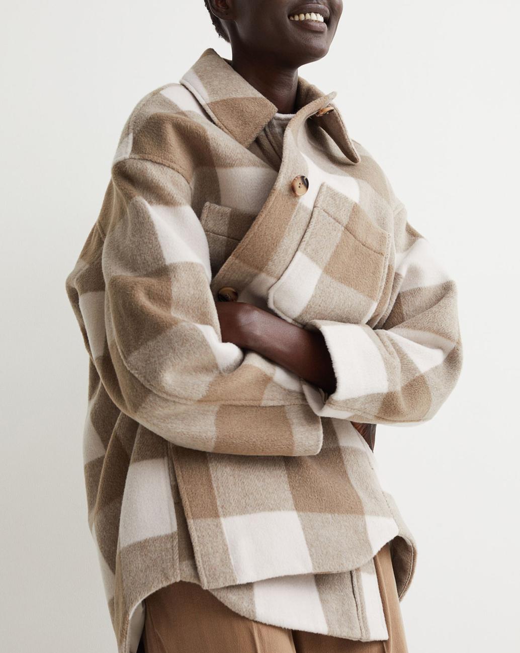 oversized check beige shacket