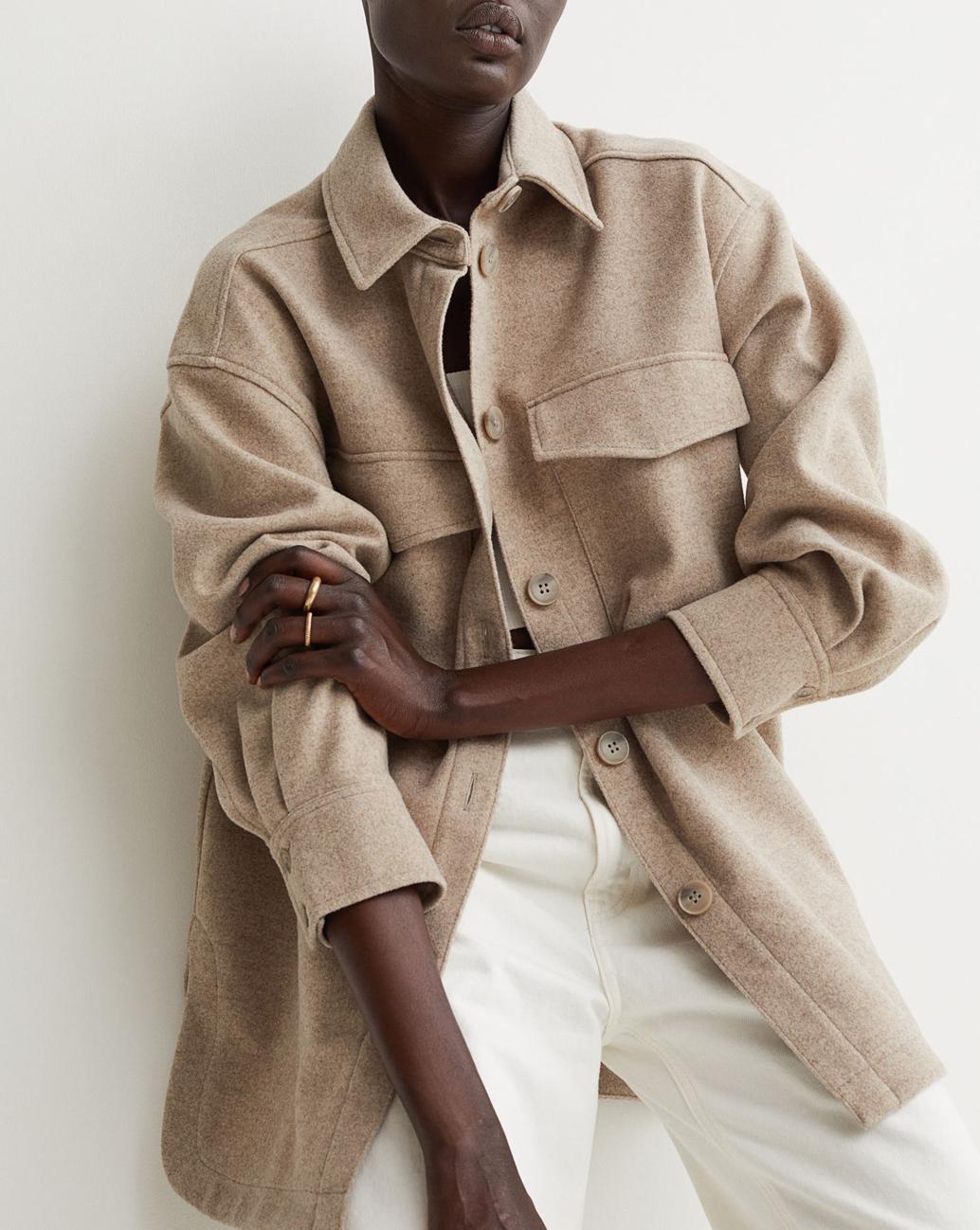 beige womens shacket h&M